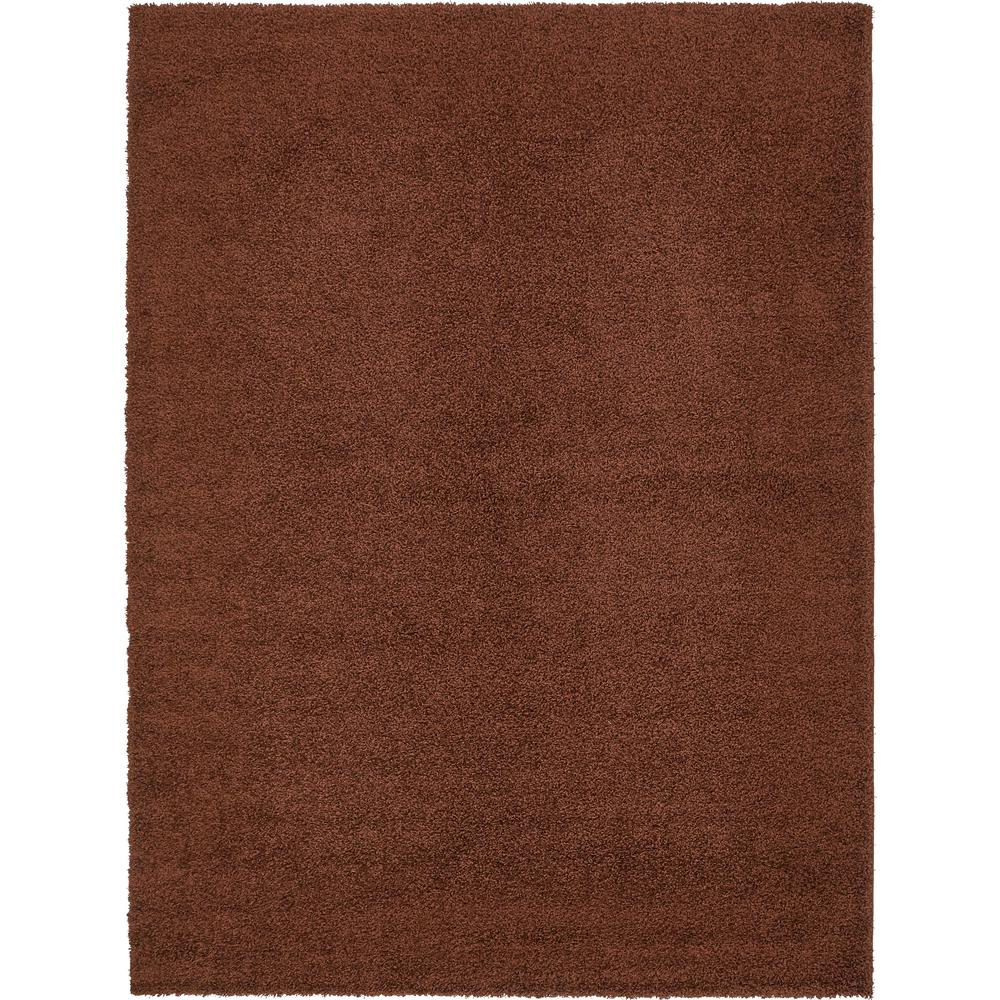 Unique Loom Solid Shag Chocolate Brown 9 Ft X 12 Ft Rug