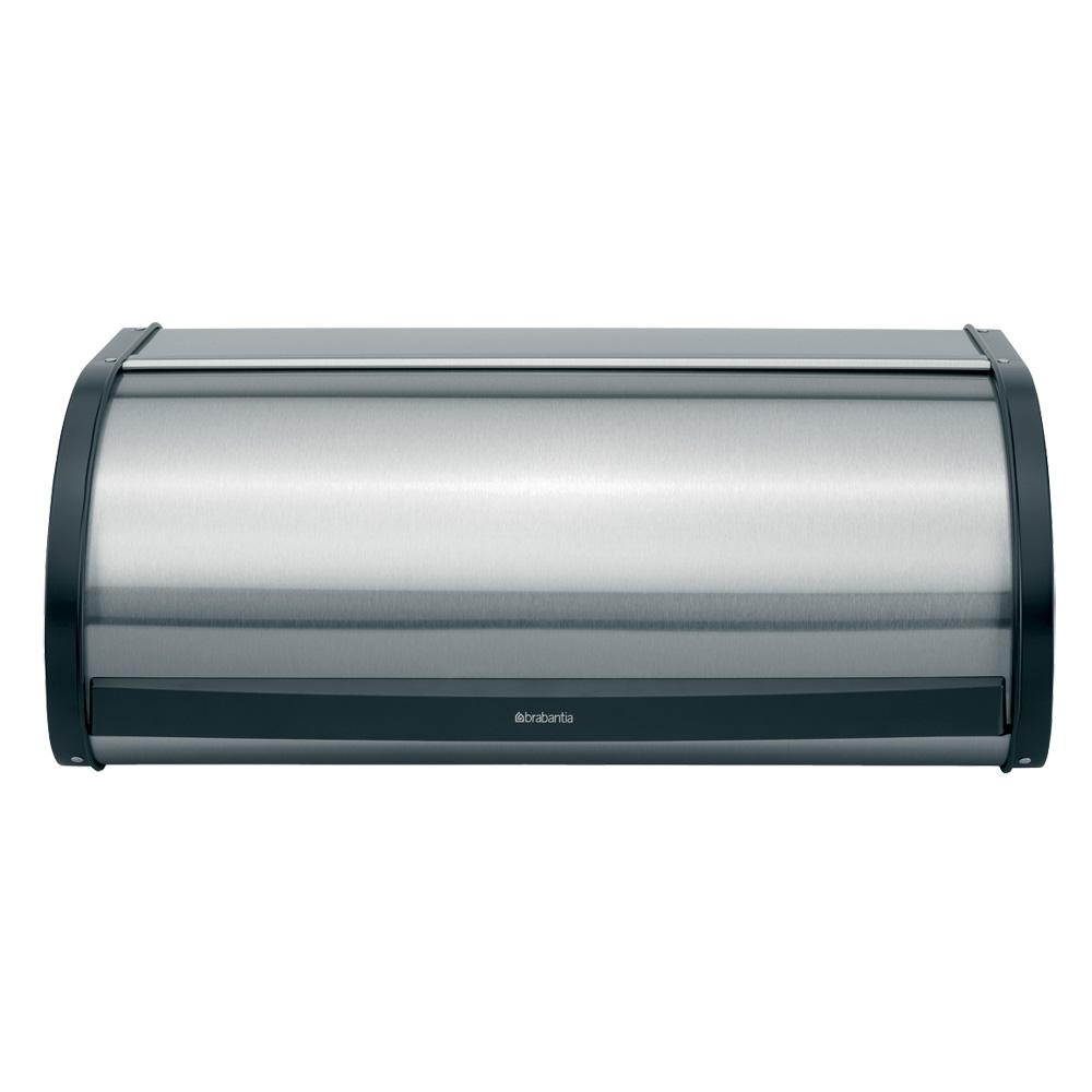 Brabantia Roll Top Bread Box, Matt Steel Fingerprint Proof A bread bin that doesn't take up extra space in your kitchen. Our roll top bread bin has a flat top, so you can store canisters etc. on top of it. With large grip for easy opening. Color: Matt Steel Fingerprint Proof.