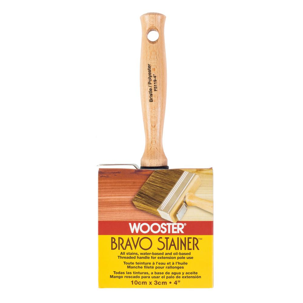 Wooster 4 in. Bristle/Polyester Bravo Stainer Brush