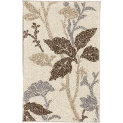 Blooming Flowers Ivory 3 ft. x 5 ft. Area Rug