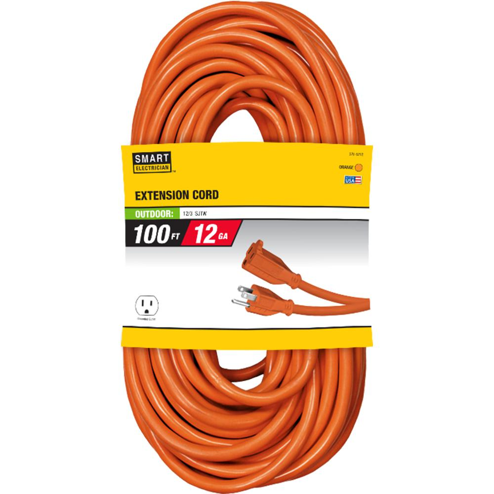100 ft. 12/3 Orange Extension Cord