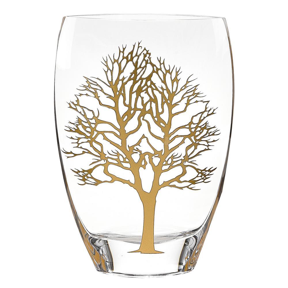 Metalic Gold Tree Of Life Design Mouth Blown European Decorative Vase