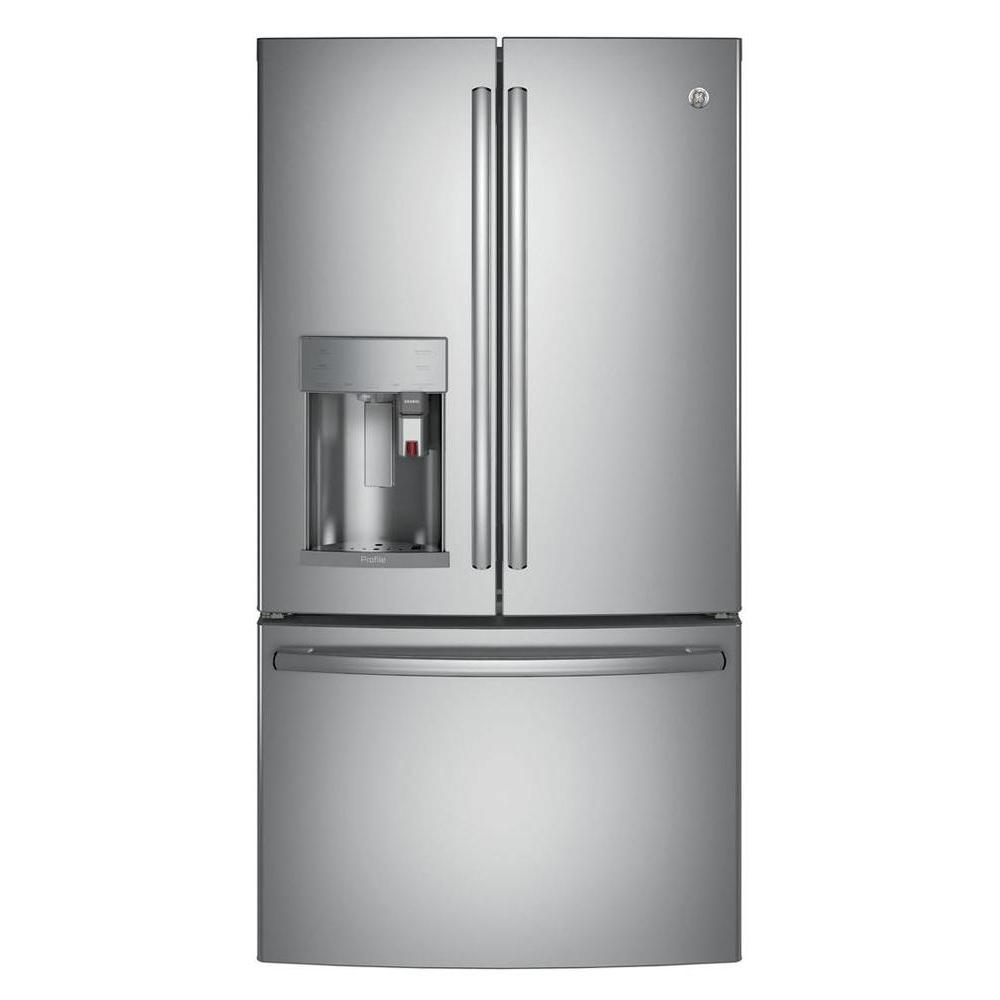 Ge Profile 27 8 Cu Ft Smart French Door Refrigerator With Keurig K Cup In Stainless Steel Energy Star Pfe28pskss The Home Depot