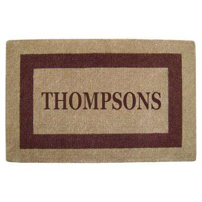 Single Picture Frame Brown 30 in. x 48 in. Heavy Duty Coir Personalized Door Mat