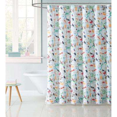Kids 72 in. Animal Multi Alphabet Shower Curtain