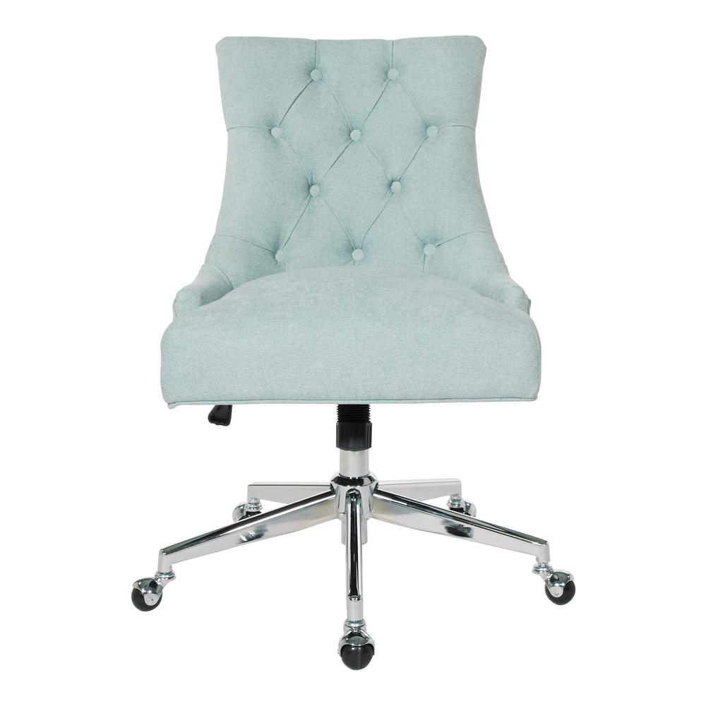 Osp Home Furnishings Tufted Office Chair In Mint With Chrome Base Ame26 E15 The Home Depot