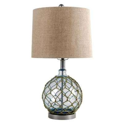 25 in. Blue Glass With Fabric Shade Table Lamps with Shade