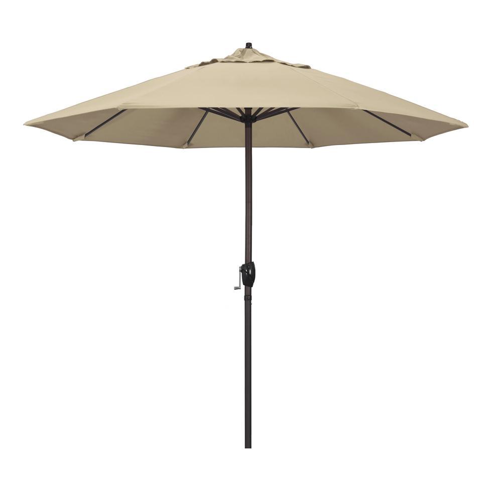 9 ft. Aluminum Market Auto Tilt Crank Lift Bronze Patio Umbrella in Antique Beige Pacifica