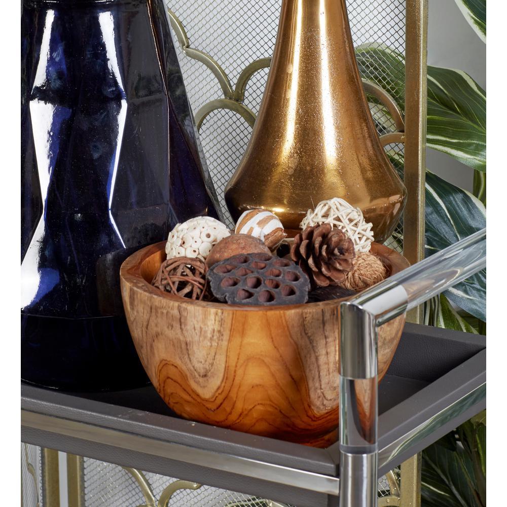 Brown Carved Teak Wood Bowl