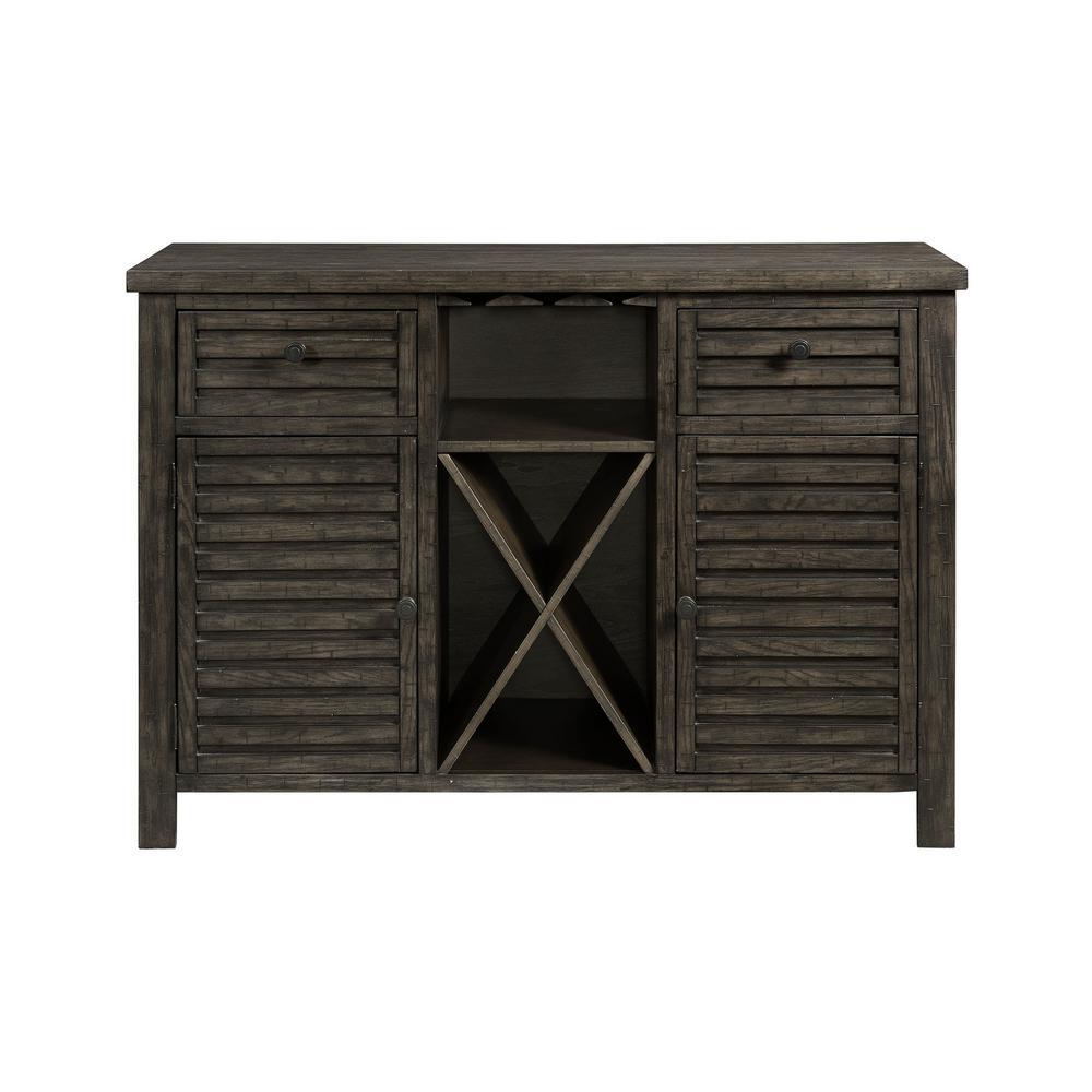 Montego Dark Walnut Utility Table with Wine Rack