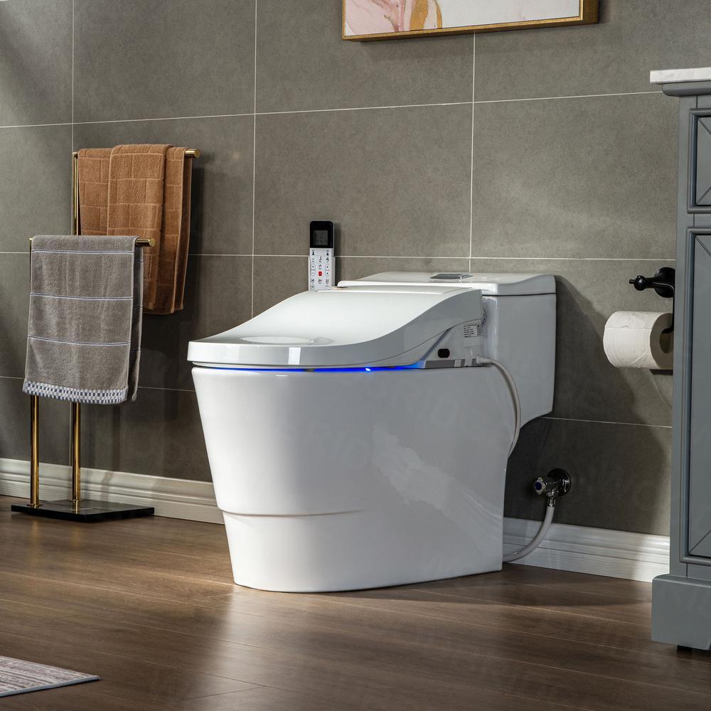 Revel One Piece 1.1GPF/1.6 GPF Dual Flush Elongated Toilet with Advance Smart Washlet BID01 Bidet in White