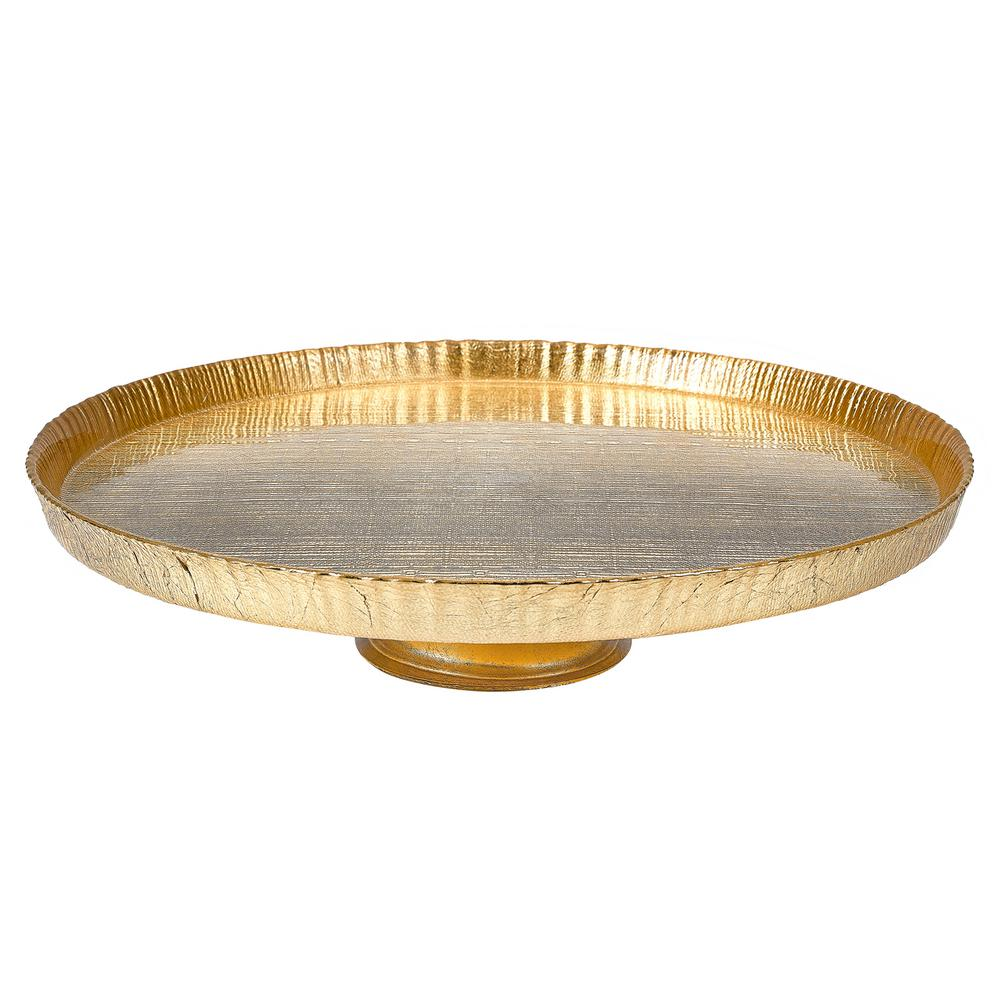 Tuscany Antique Gold 13 in. Footed Glass Cake Plate