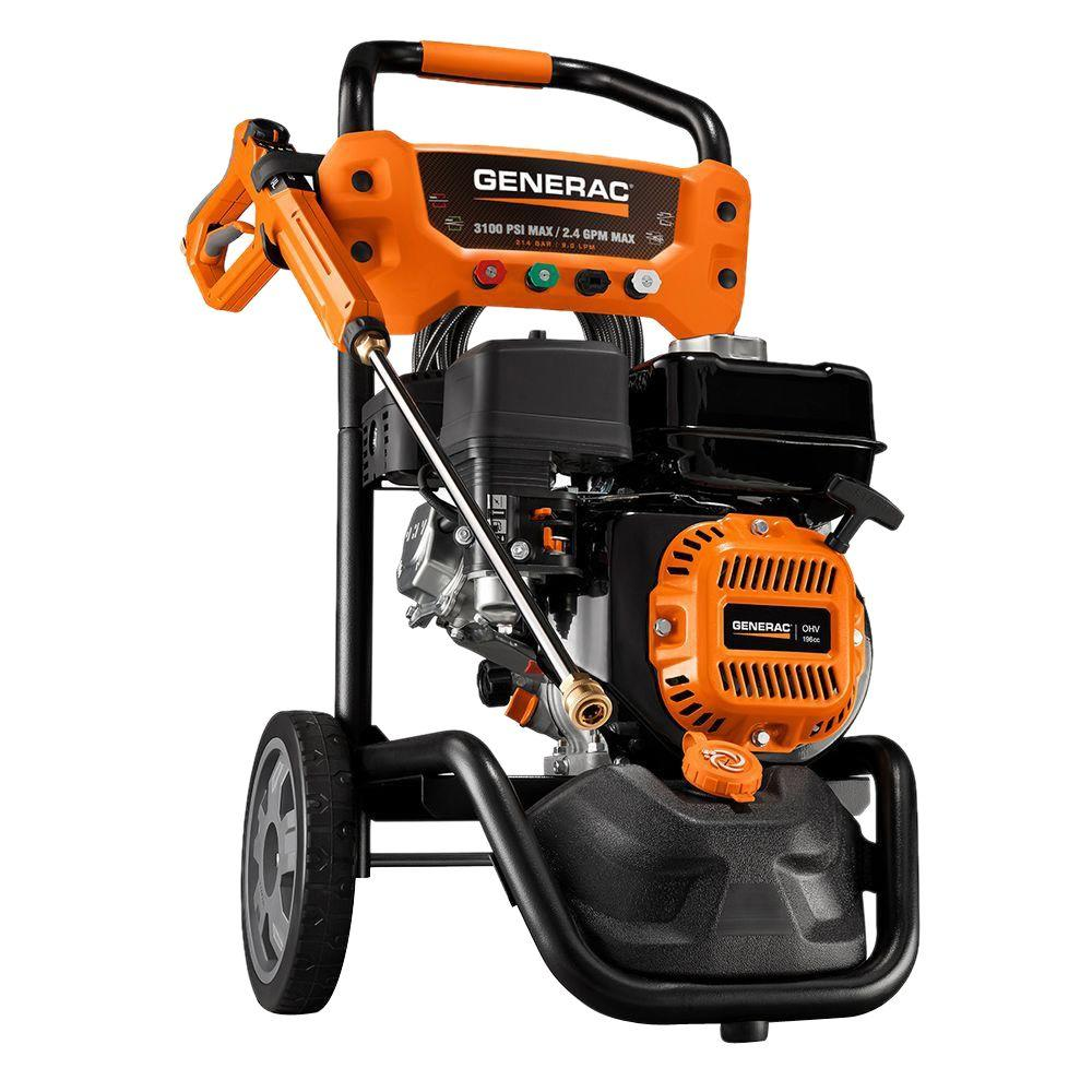 Generac 3,100 PSI 2.4 GPM OHV Engine Axial Cam Pump Gas Pressure Washer with Variable PSI Gun