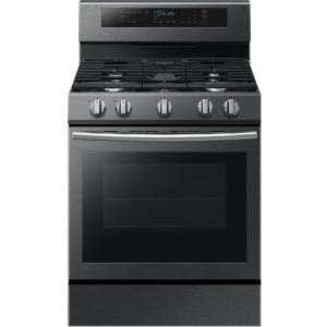 Samsung 30 inch 5.8 cu. ft. Single Oven Door Gas Range with Illuminated Knobs with True Convection Oven in Black Stainless Steel by Samsung