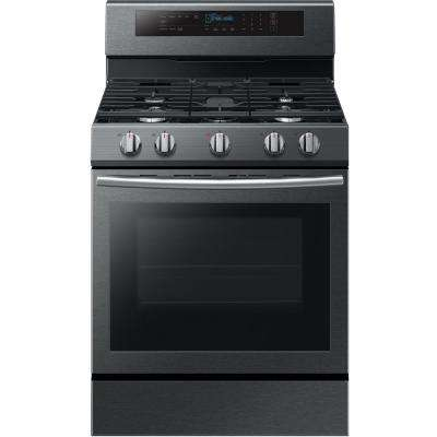 30 in. 5.8 cu. ft. Single Oven Door Gas Range with Illuminated Knobs with True Convection Oven in Black Stainless Steel