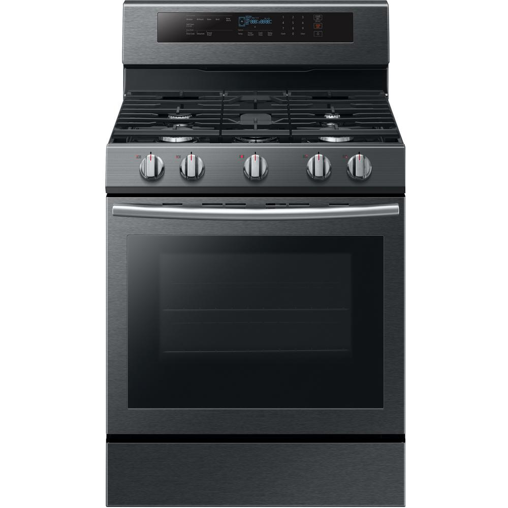 Samsung 30 in. 5.8 cu. ft. Gas Range with True Convection Oven in Fingerprint Resistant Black Stainless