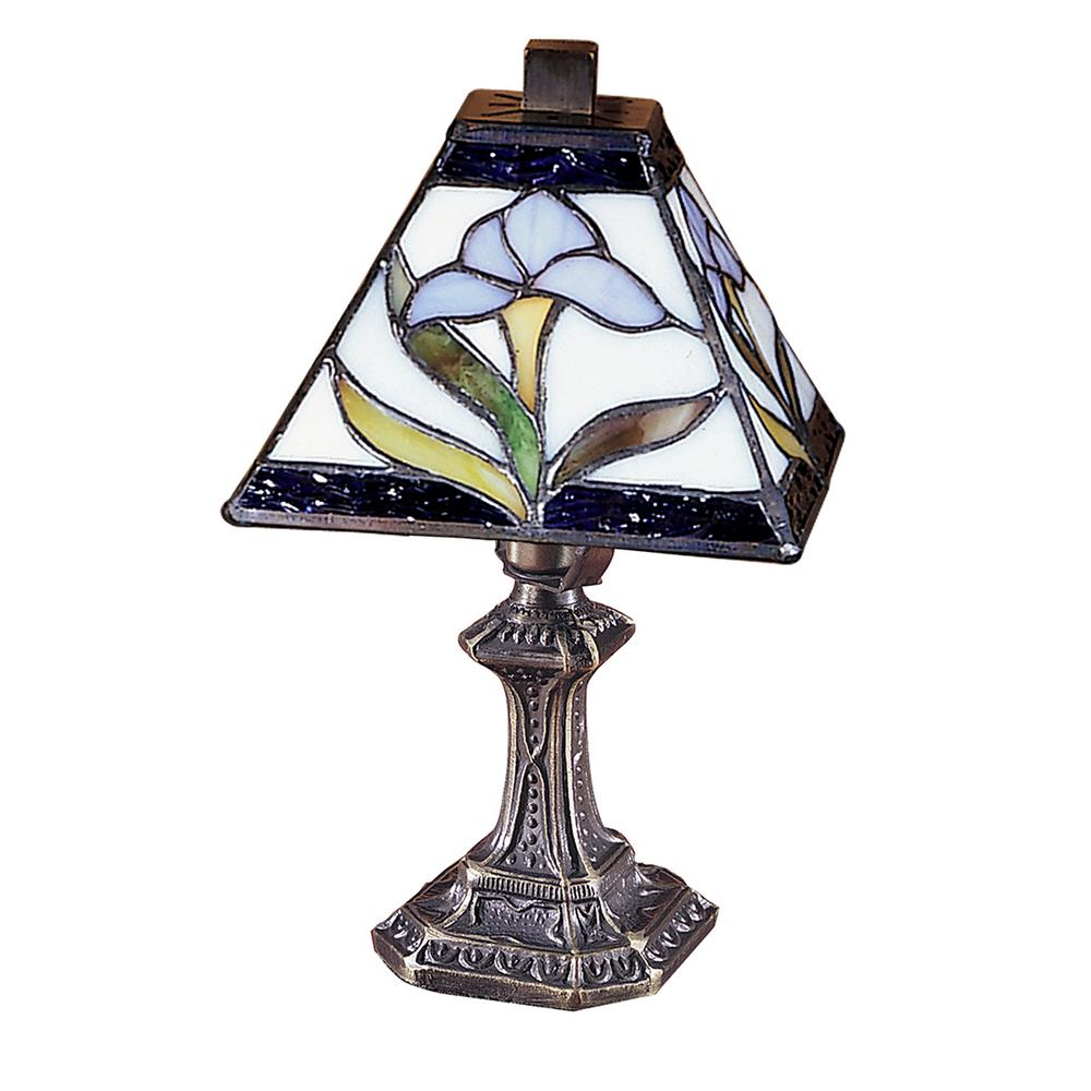 11 in. Antique Brass Mini-Accent Lamp with Tiffany Art Glass Shade