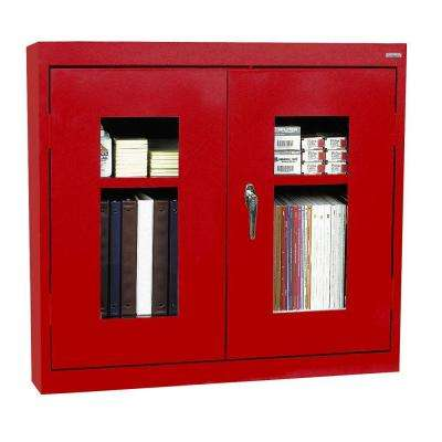 26 in. H x 30 in. W x 12 in. D Clear View Wall Cabinet in Red