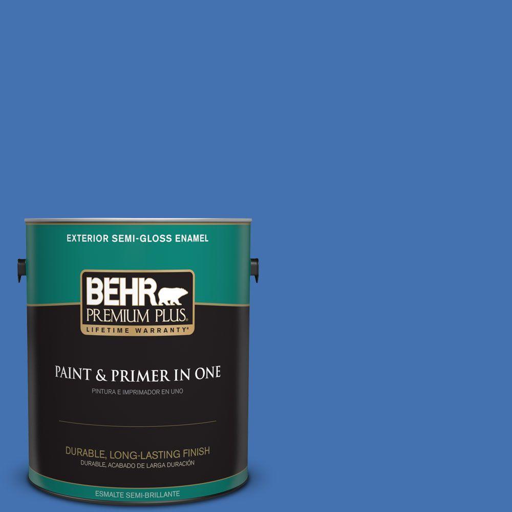 1 gal. #HDC-SM16-07 Croquet Blue Semi-Gloss Enamel Exterior Paint