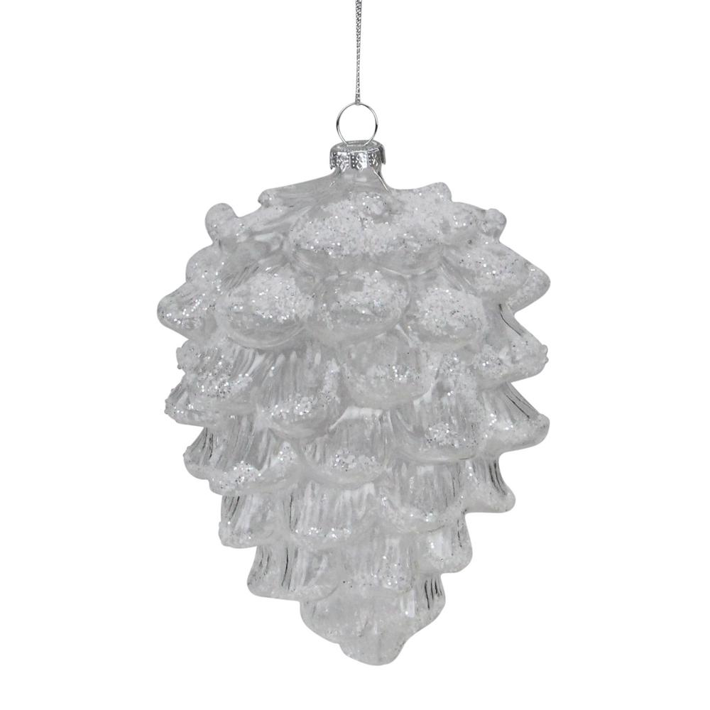 Clear Christmas Ornaments.Northlight 5 In Clear Snow Dusted Glass Pine Cone Christmas Ornament