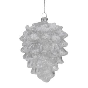 5 in. Clear Snow Dusted Glass Pine Cone Christmas Ornament