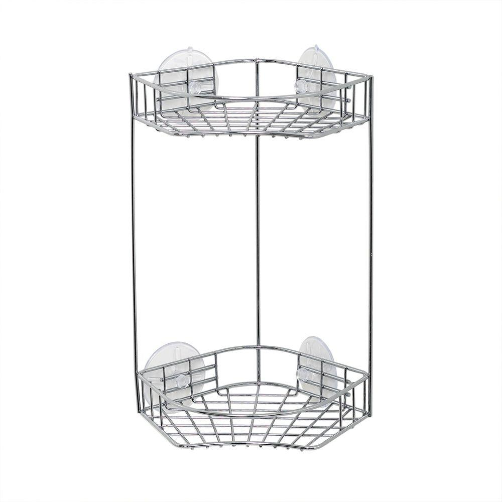 Zenna Home Chrome 2 Shelf Corner Shower Caddy in Chrome-7605S - The ...