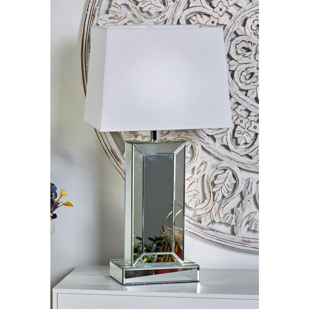 Mirrored Rectangular Table Lamp With LED