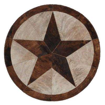 Vintage Star Brown 4 ft. x 4 ft. Round Area Rug