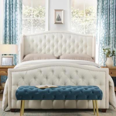Marcella Antique White Queen Upholstered Bed
