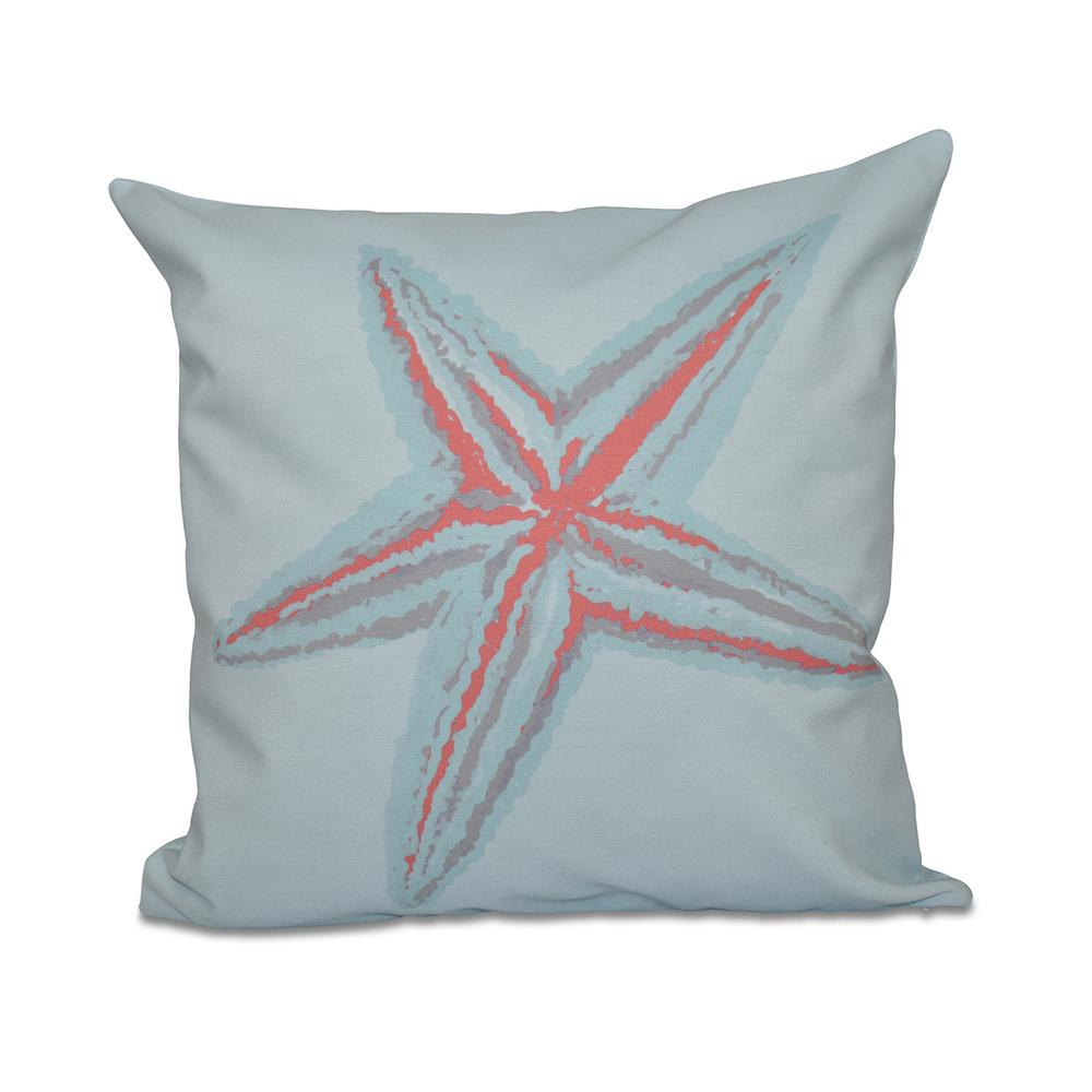 16 in. x 16 in. Small Starfish Decorative in Coral Pillow-PAN599OR1-16 - The Home Depot