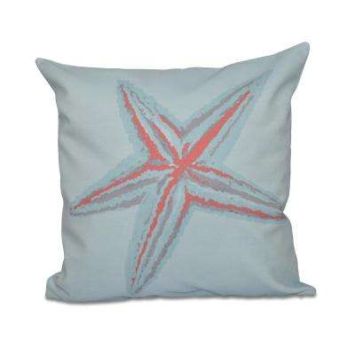 16 in. x 16 in. Small Starfish Decorative in Coral Pillow