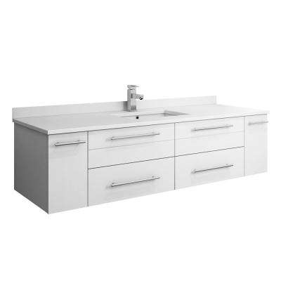 Lucera 60 in. W Wall Hung Bath Vanity in White with Quartz Stone Vanity Top in White with White Basin