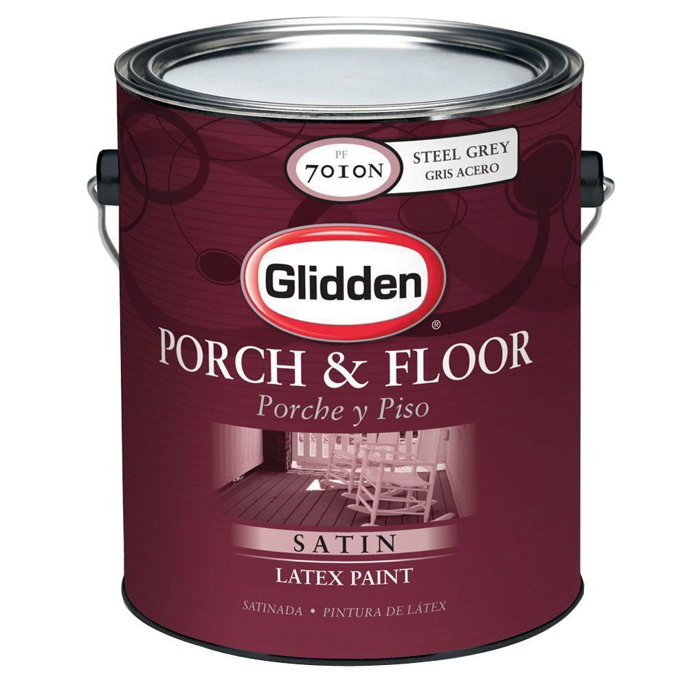 Glidden Porch And Floor 1 Gal Satin Latex Interior Exterior Paint Pf7010n 01 The Home Depot
