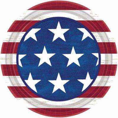 9 in. x 9 in. Americana Round Plate (50-Count, 2-Pack)