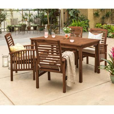 Dark Brown 5-Piece Wood Conversational Patio Set with Cream Cushions