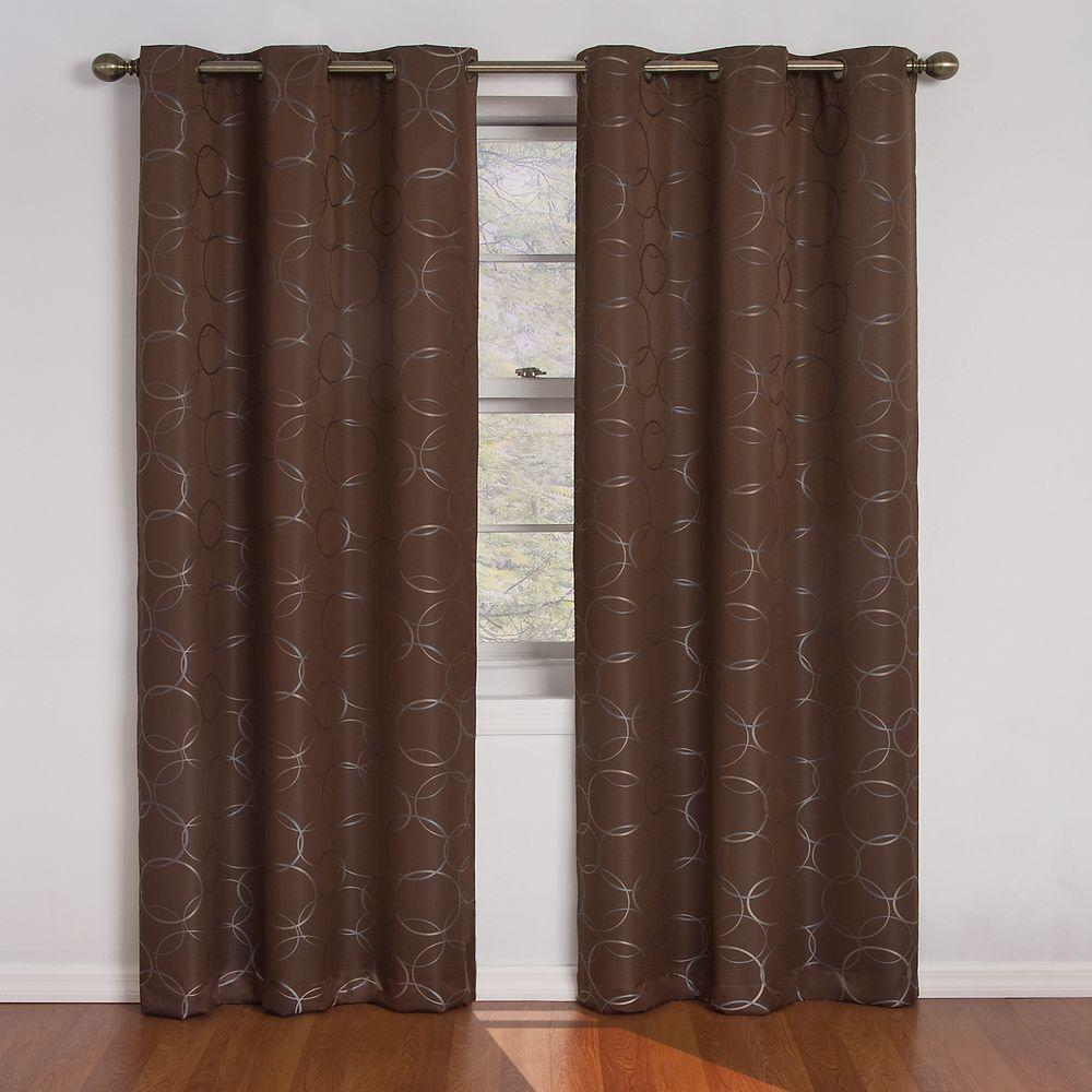 Eclipse Meridian Blackout Window Curtain Panel in Chocolate - 42 in. W x 84 in. L