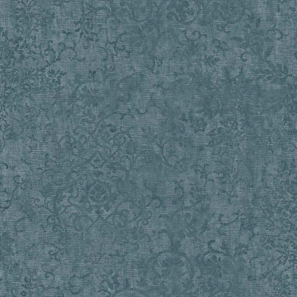 The Wallpaper Company 56 sq. ft. Blue Floral Scroll Wallpaper-DISCONTINUED