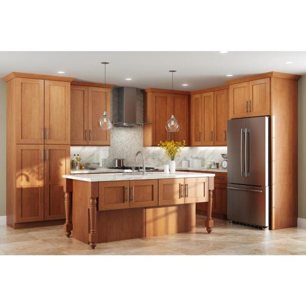 Home Decorators Collection Hargrove Assembled 16x30x1 5 In Shaker Soft Close Door For Corner Sink Base Kitchen Cabinet In Stained Cinnamon Sfa36 Hcn The Home Depot