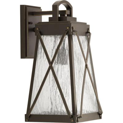Creighton Collection 1-Light Antique Bronze 15.75 in. Outdoor Wall Lantern Sconce