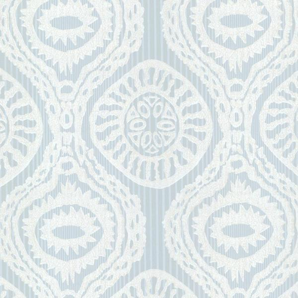 Brewster Marrakech Blue Medallion Stripe Wallpaper HZN43035