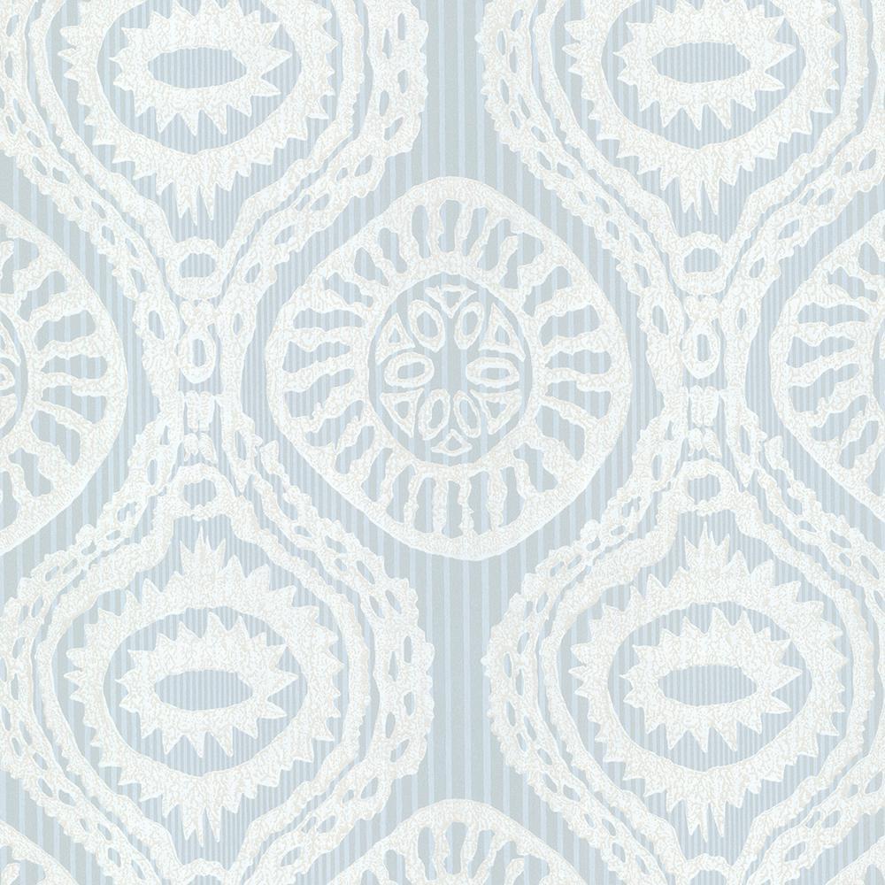 Brewster Blue Marrakech Medallion Stripe Wallpaper Sample HZN43035SAM