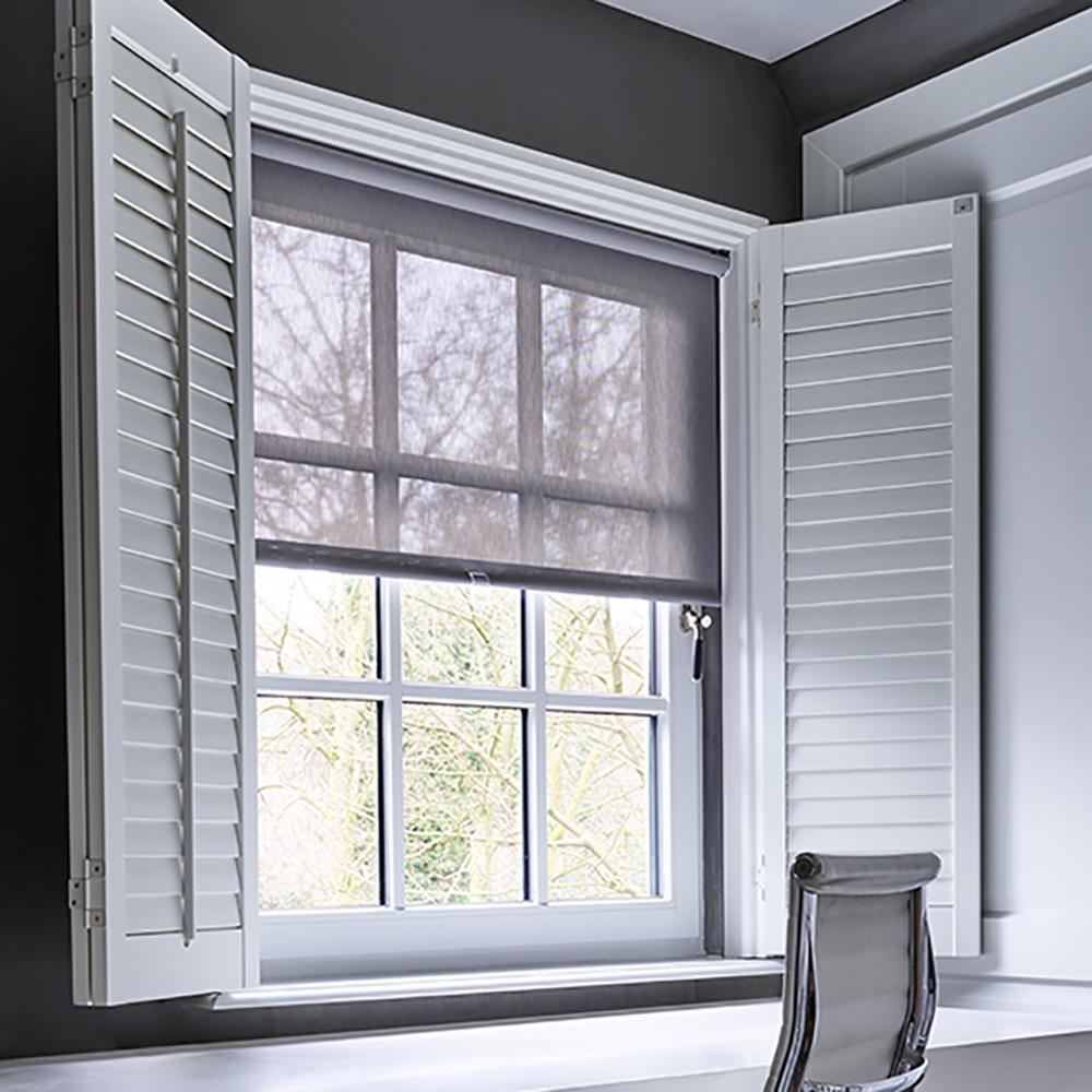 Cut-to-Width Silver Solar Spring Cordless Polyester Roller Shade - 29 in.