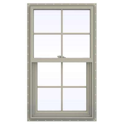 23.5 in. x 35.5 in. V-2500 Series Desert Sand Vinyl Single Hung Window with Colonial Grids/Grilles