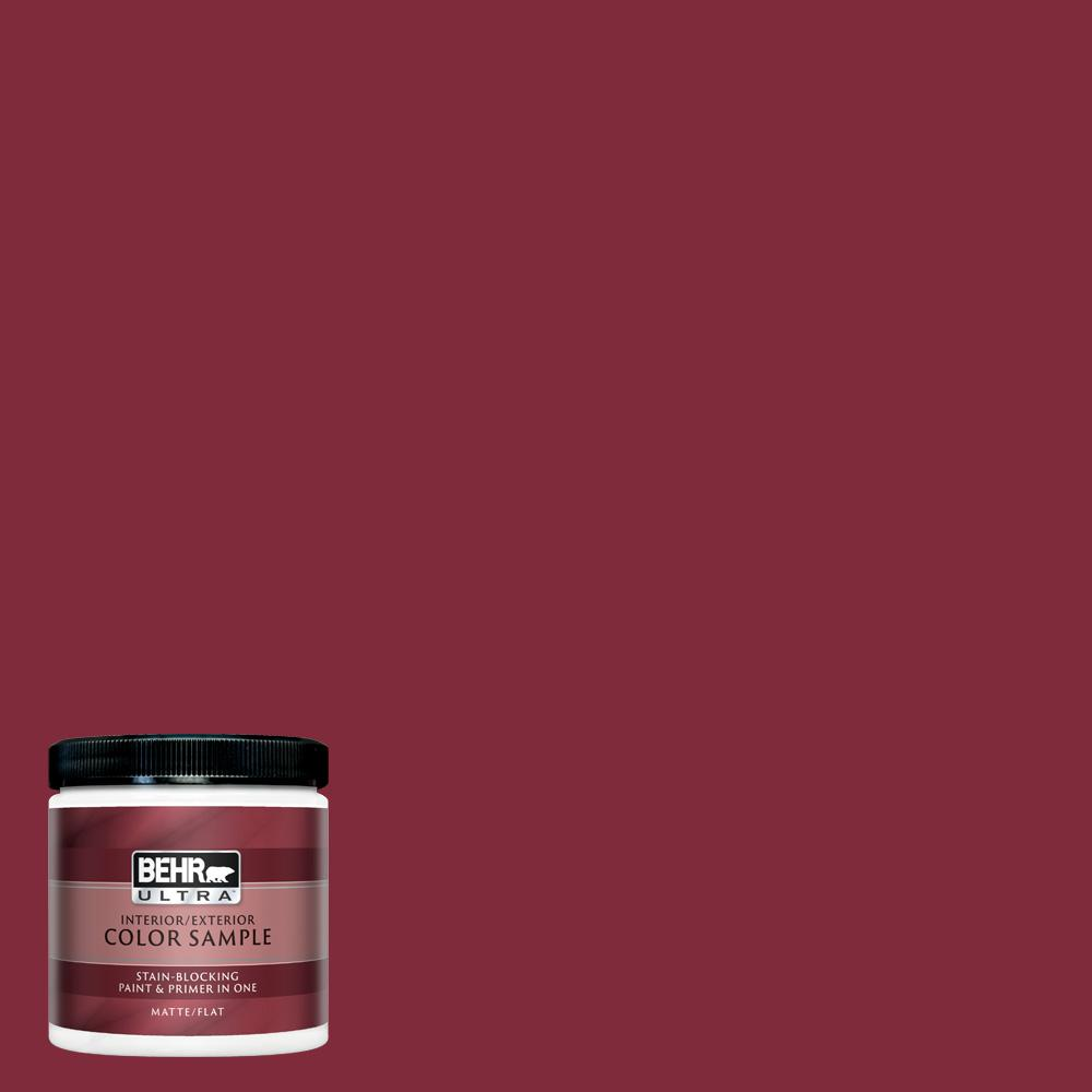 BEHR ULTRA 8 oz. #S-H-130 Red Red Wine Matte Interior/Exterior Paint and  Primer in One Sample