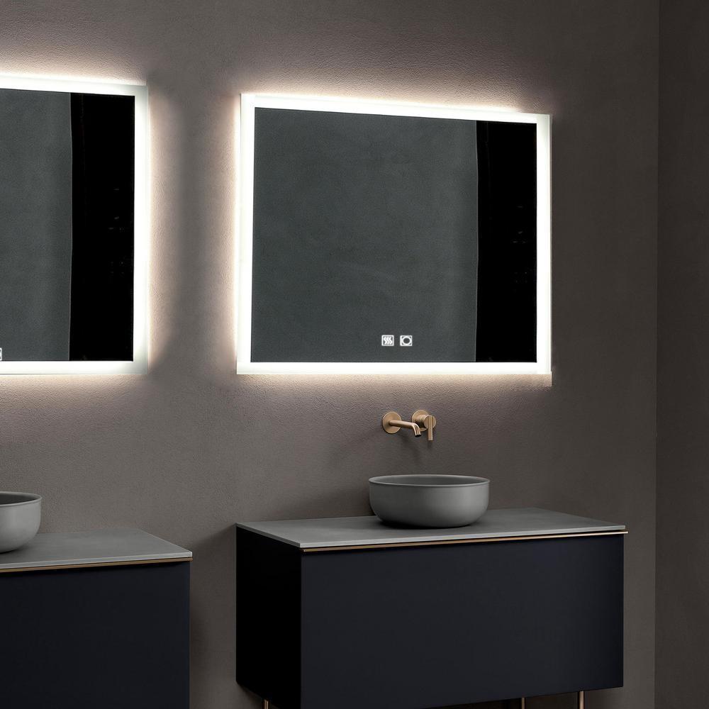 Matrix Decor 35 In W X 35 In H Frameless Square Led Light Bathroom Vanity Mirror Js 3636 B4 X E The Home Depot