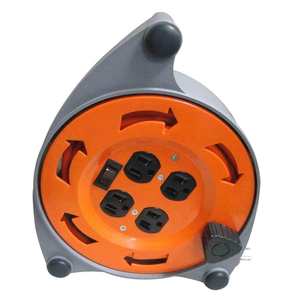 Retractable Extension Cord Reel >> Hdx 20 Ft 16 3 Retractable Extension Cord Reel With 4 Outlets Cr