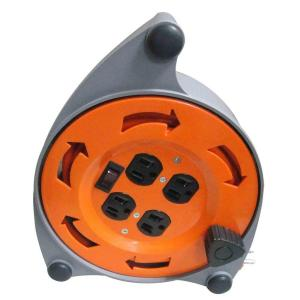 hdx 20 ft 16 3 retractable extension cord reel with 4 outlets cr 002 the home depot. Black Bedroom Furniture Sets. Home Design Ideas