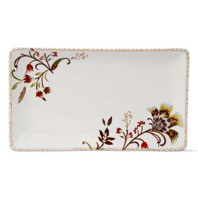 1-Piece Autumn Bloom Harvest Earthenware Rectangular Platter