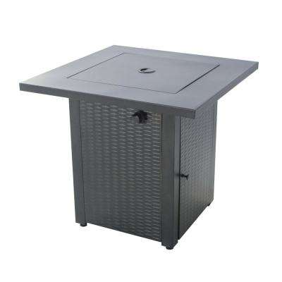 28 in. Square 48,000 BTU Steel Construction Gas Fire Pit with Stainless Steel Burner and Table Lid