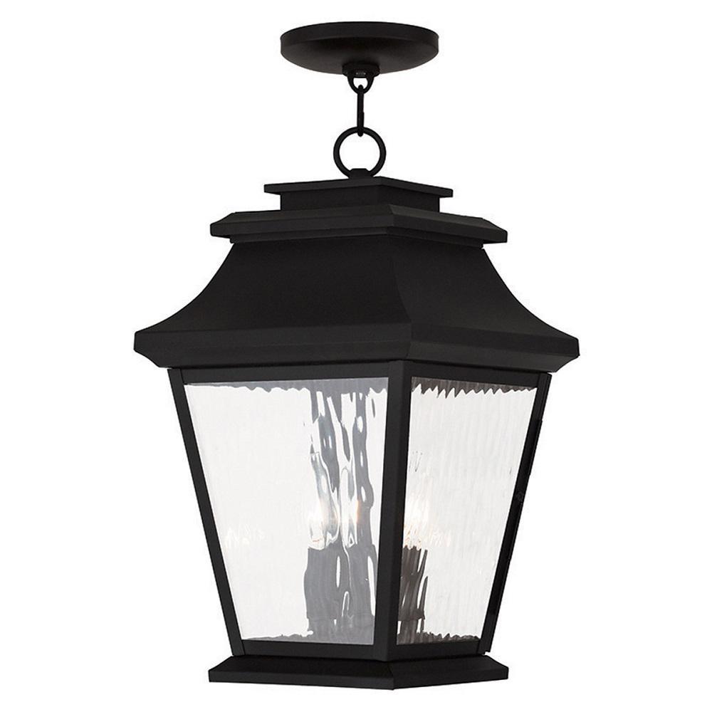 Hathaway 3-Light Black Outdoor Hanging Lantern
